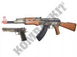 AK47 Kalashikov Assault Rifle and Colt 1911 Pistol BB Gun Set in Black and Clear